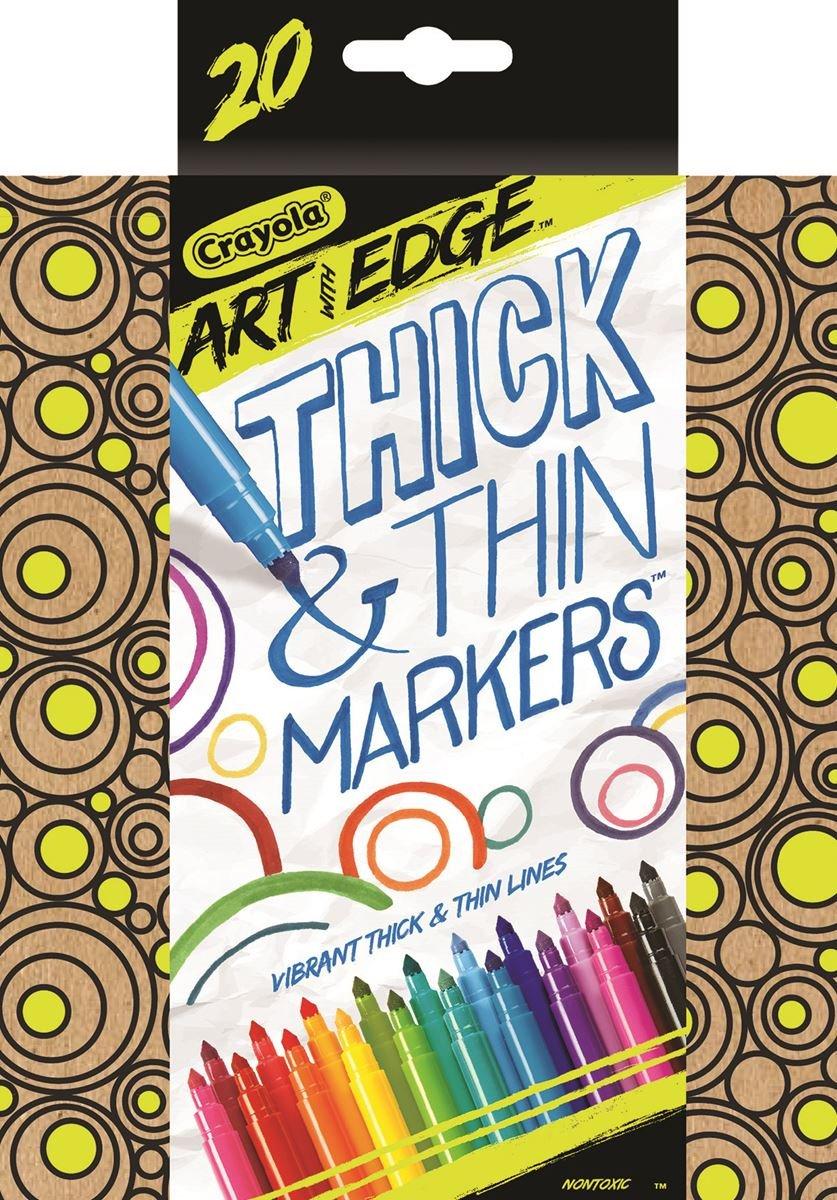 Marcadores Crayola gruesos y finos, marcadores de punta cónica, 20 unidades