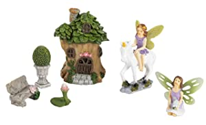 Juvale Fairy Garden Kit - 6-Piece Unicorn Fairy Garden Kit and Miniature Tree House Figurines, Mini Garden Accessories, Indoor Outdoor Decorations, Yard, Lawn, Housewarming, Wedding Gift