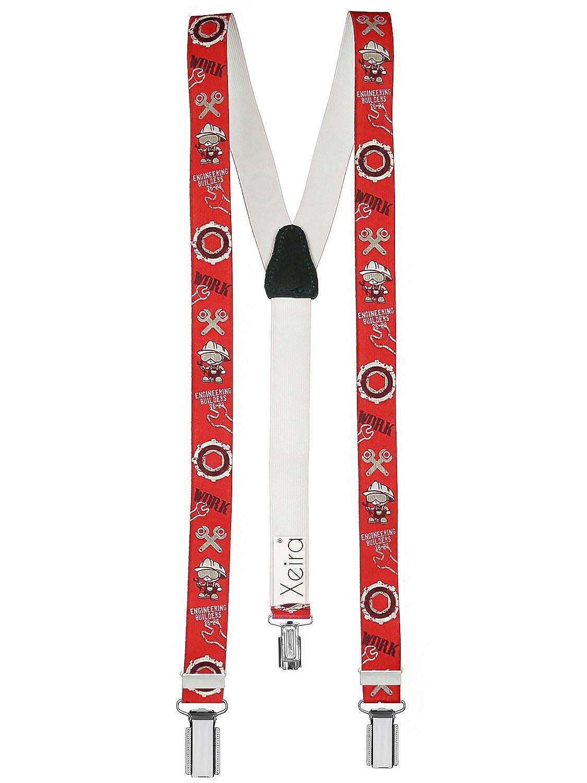 Bretelles pour enfants de haute qualité avec empiècement en vrai cuir Ingénieur Design / Rouge / Bleu / Gris