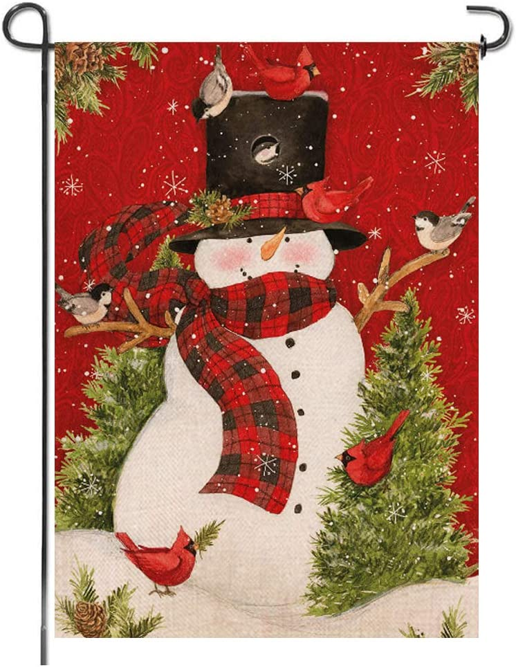 Merry Christmas Garden Flag Winter Snowman Bird Tree Buffalo Plaid Rustic Burlap Welcome Xmas Seasonal Small Vertical Double Sided Bunting Lawn Porch Yard Indoor Outdoor Home Decoration, 12x18 Inch