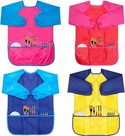 Middle Size Painting Apron for Kids 5-10 Years Caydo 2 Pieces Water Resistant Childrens Art Smocks with 3 Roomy Pockets Pink and Blue