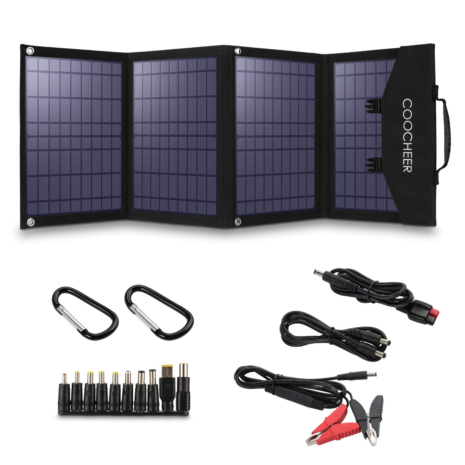 COOCHEER Solar Panel 60W, Portable Solar Panel Charger for Portable Generator/Power Station/USB Devices/Cars/Yacht with 2 USB Ports & 1 DV Port, Suitable for Camping Van