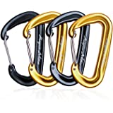12KN Rated Wiregate Carabiners,Lightweight and Strong,Pack of 4Pcs(2Pcs of Black and 2Pcs of Gold) For Hammock, Rv, Camping, Fishing,Traveling and Keychain