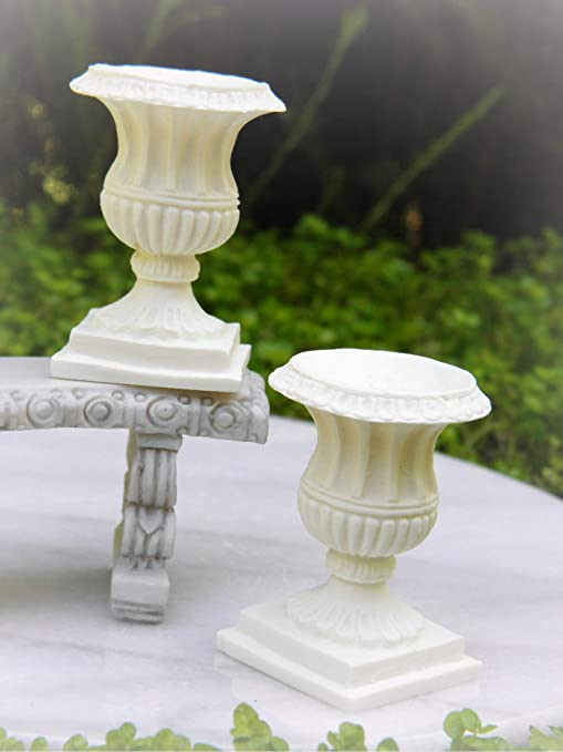 Miniature Dollhouse FAIRY GARDEN Accessories ~ 2 Ivory Resin French Pedestals