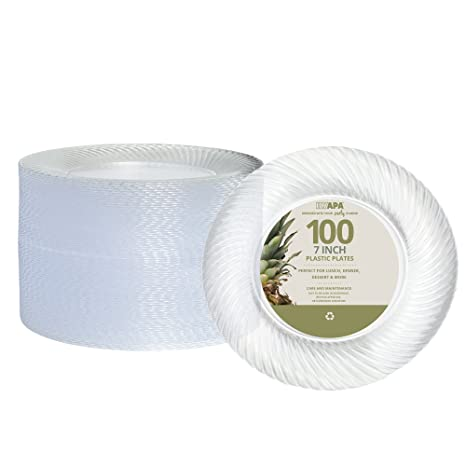 100 Premium Clear Plastic Plates for Dinner Party or Wedding - 7 Inch Fancy Disposable Plastics  sc 1 st  Amazon.com & Amazon.com: 100 Premium Clear Plastic Plates for Dinner Party or ...