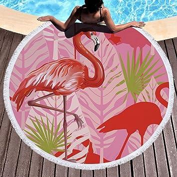 Tropical Flamingo hojas Toalla de playa grande redondo microfibra toalla de playa hippie boho playa manta Picnic pared Alfombra para yoga (150 cm 5: ...