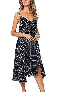 015ed54cda3 ECOWISH Womens Backless Straps Plaid Dress Tie Waist High Low Hem Casual  Midi Dress