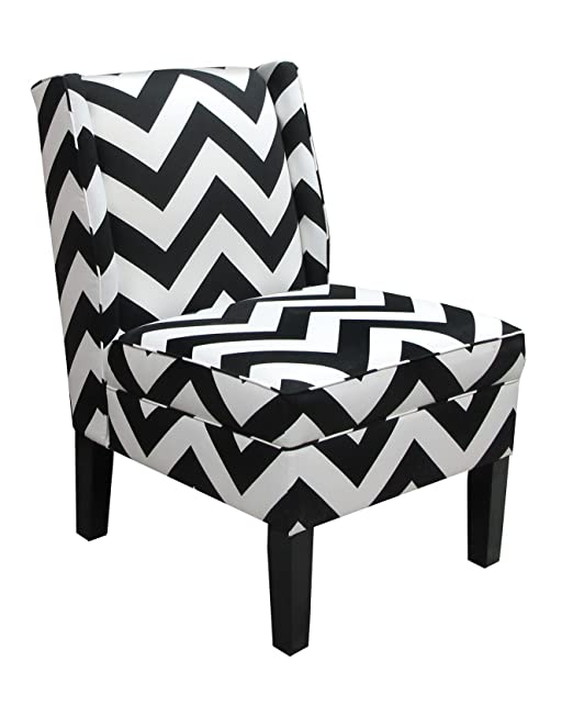Amazon.com: Skyline Furniture Wingback Chair In Zig Zag Black And White:  Kitchen U0026 Dining