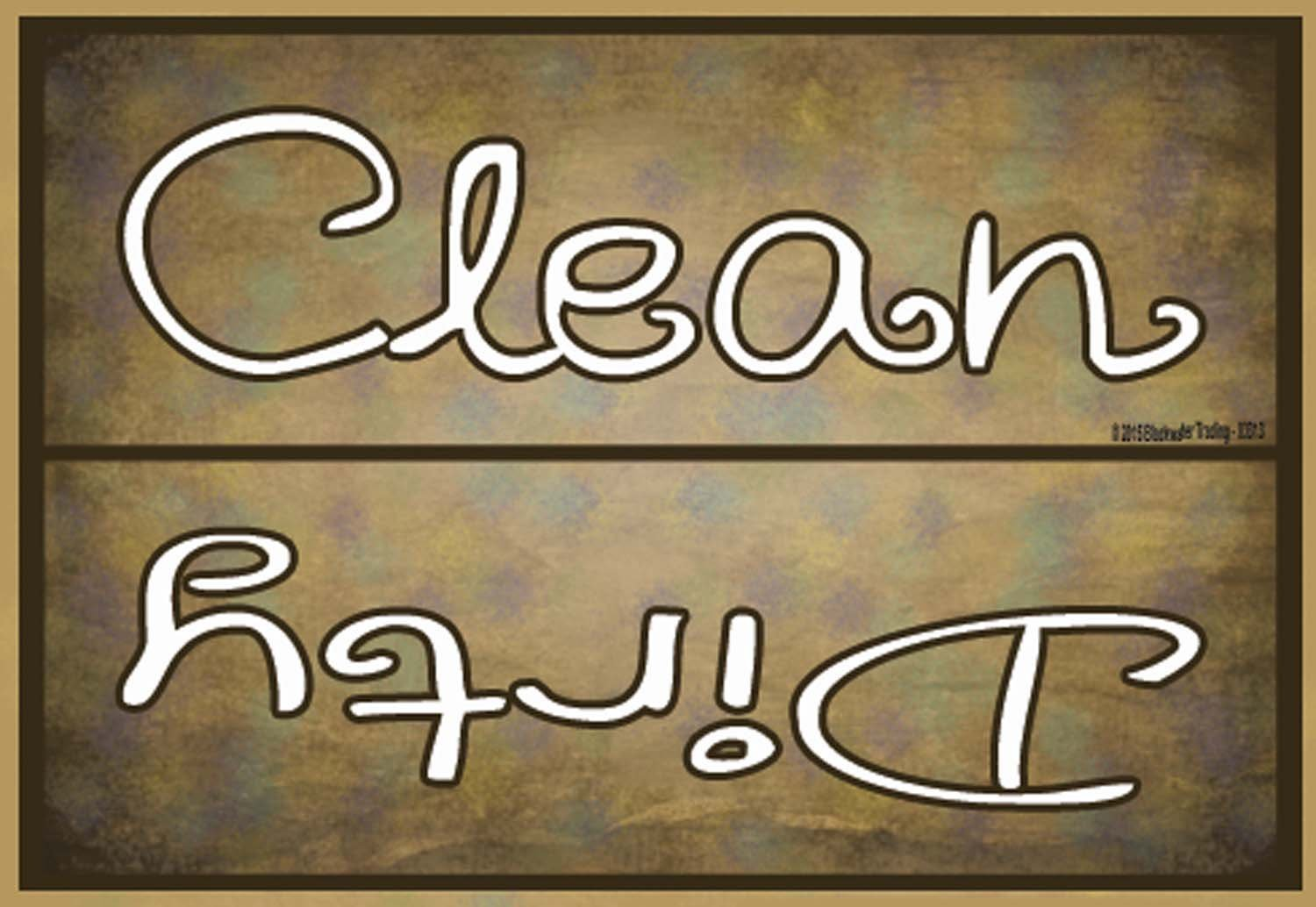 """Blackwater Trading Clean Dirty Dishes Dishwasher Fridge Magnet Refrigerators, 3.5"""" H x 2.5"""" W, Brown"""