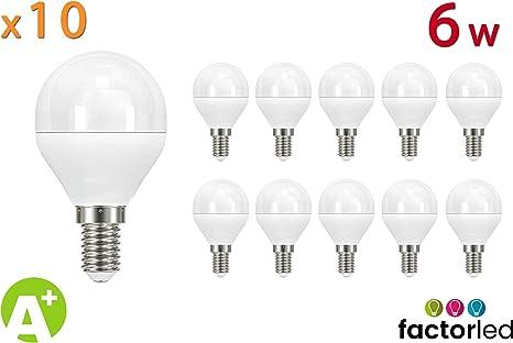FactorLED Bombilla LED 6W (equivalente a 55W), casquillo E14, Pack 10 unidades [Clase de eficiencia energética A+] (Luz Cálida (3000K)): Amazon.es: Iluminación