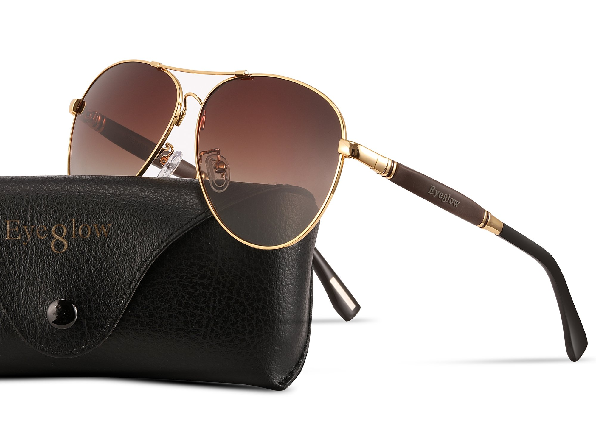 EyeGlow Aviator Brand Designer Sunglasses Men and Women Polarized Lens Metal Material (Golden)