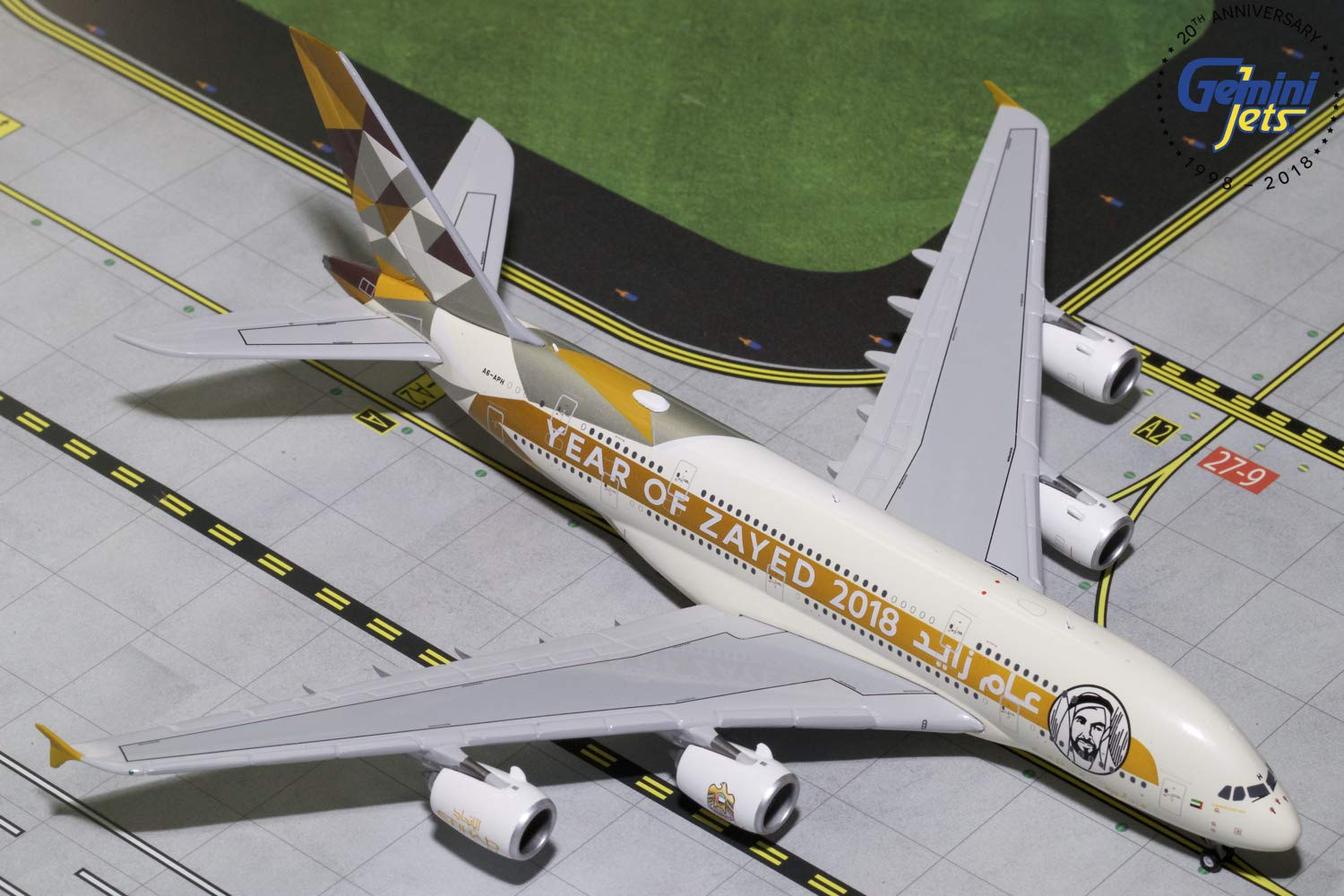GeminiJets Etihad Airways A380 A6-APH Year of Zayed 2018'' 1:400 Scale Diecast Model Airplane