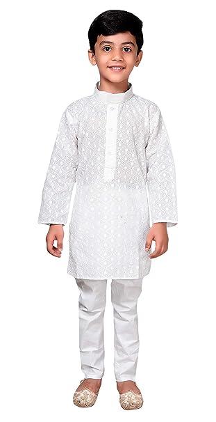 Desi Sarees Niños Indios 100% Chikan Blanco Algodón Kurta Salwar Kameez  Sherwani Pijama 845  Amazon.es  Ropa y accesorios c340da35a68