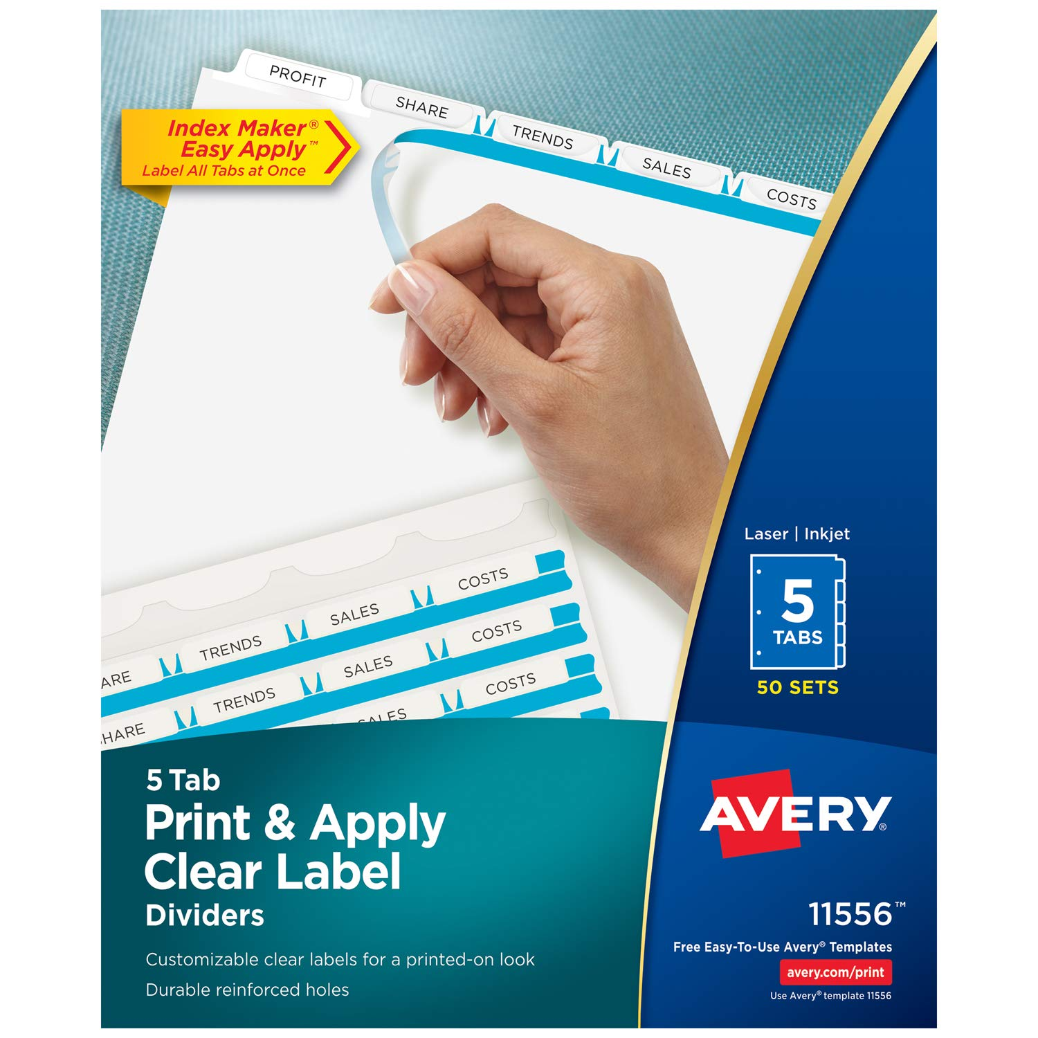 Avery 5-Tab Binder Dividers, Easy Print & Apply Clear Label Strip, Index Maker, White Tabs, 50 Sets (11556)