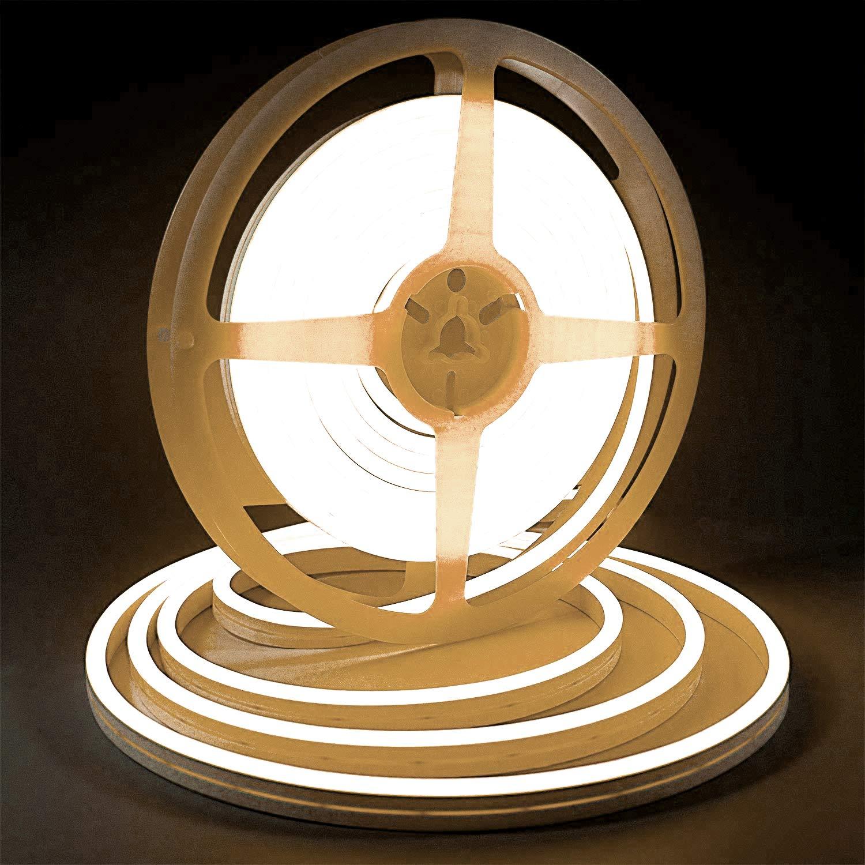 Warm White LED Light Strip, Lamomo 3000K Flexible White Neon Light Premium High Density 2835-16.4 Ft/5m, 600 LEDs, UL-Listed Upgrade Silicone LED Rope 12V DC Tape Light for Indoors/Outdoors Decor/DIY