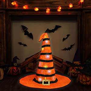 """Ivenf Halloween 23"""" Witch Hat Extra Large Table Fireplace Indoor Outdoor Decoration Decor with 20 LED String Lights, Orange with Black Stripes"""