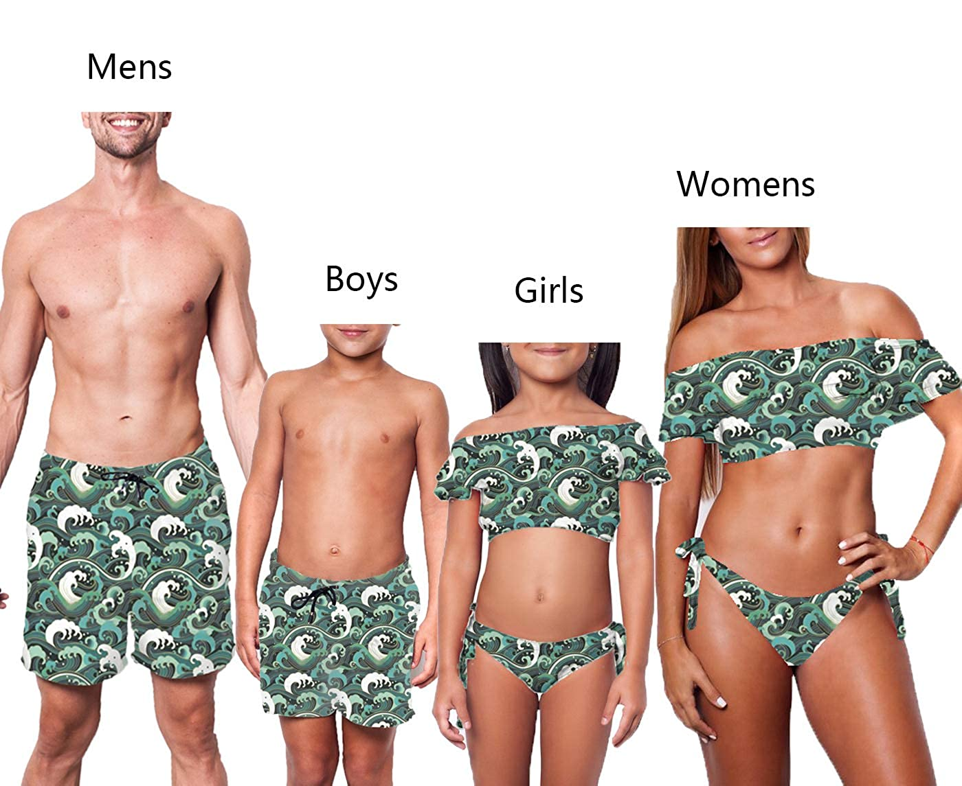 outfits-unlimited Family Matching Swimwear Father Son Swim Trunks Mommy Me Two Piece Swimsuit Women Mens Girl Boy Bathing Suits 2-3 T, Boy Swim Trunks