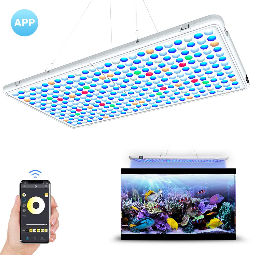 Relassy LED Aquarium Light Panel- APP Control Full Spectrum LED Coral Reef Light Panel for Saltwater Freshwater Fish Tank with AUTO ON/Off Timer & Dimmable by Relassy