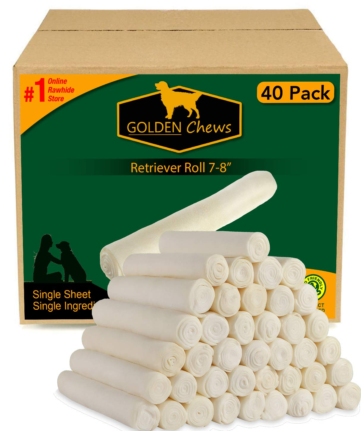 Retriever roll 7-8 Inches Extra Thick (40 Pack) by Golden Chews
