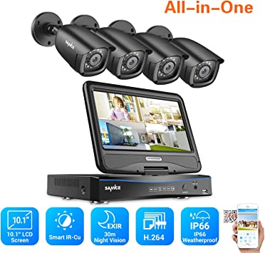 "SANNCE 10/"" LCD Monitor 4CH 1080N 5IN1 DVR Outdoor IR CCTV Security Camera System"