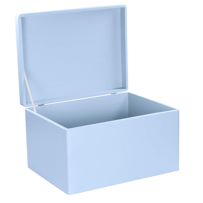 Spielzeug-Truhe Blau Geschenk-Verpackung Allzweck-Kiste aus Holz Erinnerungsbox Aufbewahrungskiste 40x30x24cm FSC/® Deko-Kasten zum Basteln LAUBLUST Gro/ße Holzkiste mit Deckel
