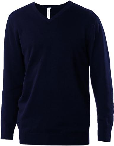 Kariban - Jersey/ Sweater de manga larga cuello pico hombre caballero