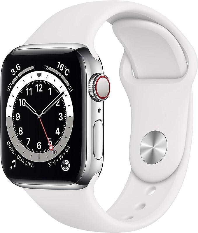 最新 AppleWatch Series 6(GPS + Cellularモデル)- 40mmシルバーステンレススチールケースとホワイトスポーツバンド