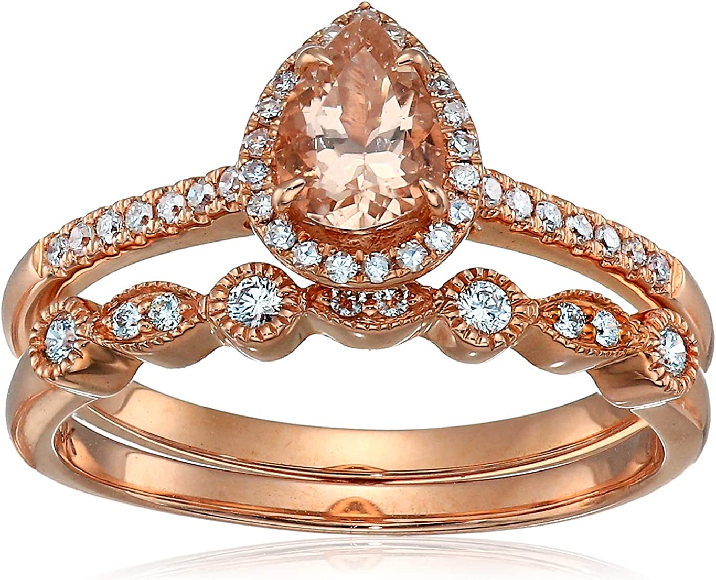 Amazon Com Olivia Paris 14k Rose Gold Pear Morganite And Diamond Halo Vintage Ring Band Set 1 4 Cttw H I I1 Jewelry
