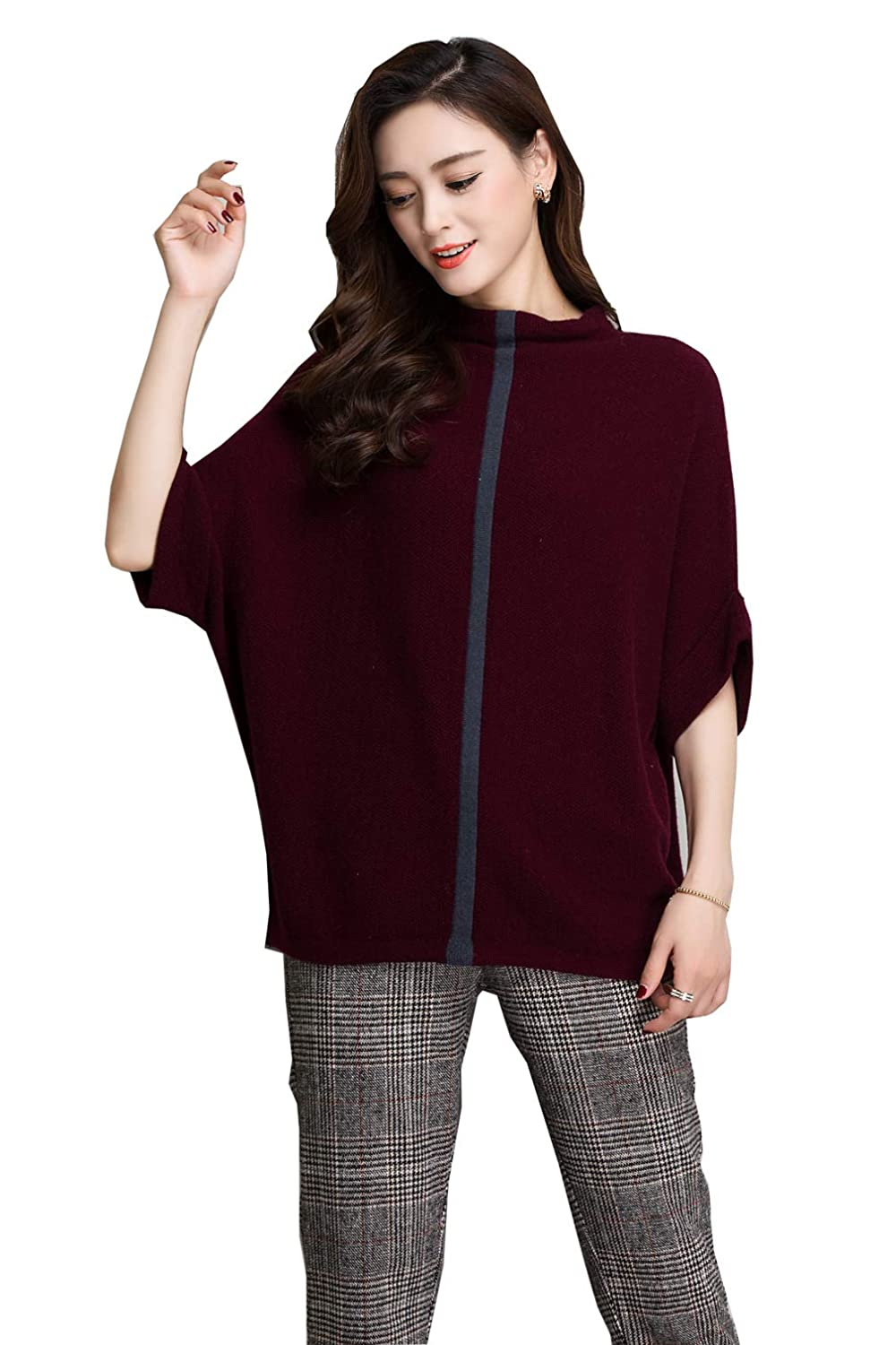Dark purple MedzRE Women's 1 2 Dolman Sleeves Loose Cashmere Winter Sweater One Size