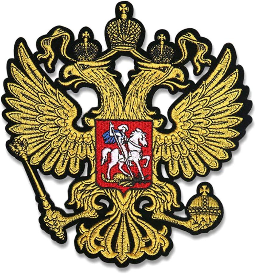 Ycncixwd Tuba Golden Rusia Emblemas Nacionales Parches Hierro En El Abrigo Fino Águila Atrás Bordado De Goma Accesorios De Ropa Parches De Motociclista