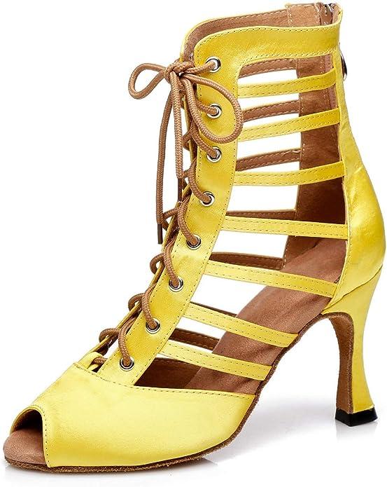 MINITOO QJ7019 Womens Lace-Up Leather Modern Salsa Tango Ballroom Latin Wedding Party Evening Dance Shoes