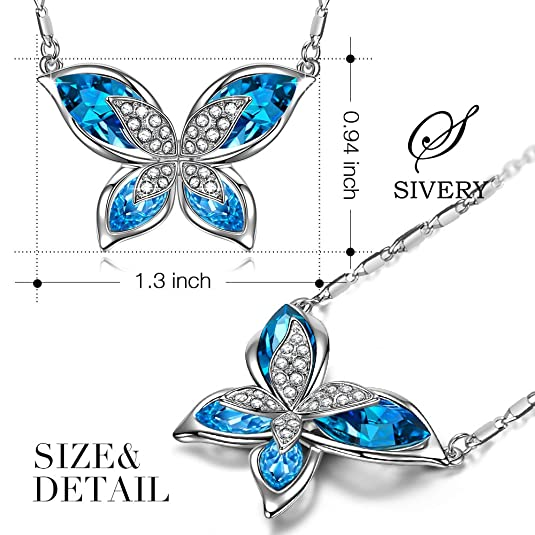 2ba8900bc0e36c Amazon.com: S SIVERY Butterfly' Women Pendant Necklace with Blue Swarovski  Crystals, Jewelry for Mom Gifts for Mom: Jewelry