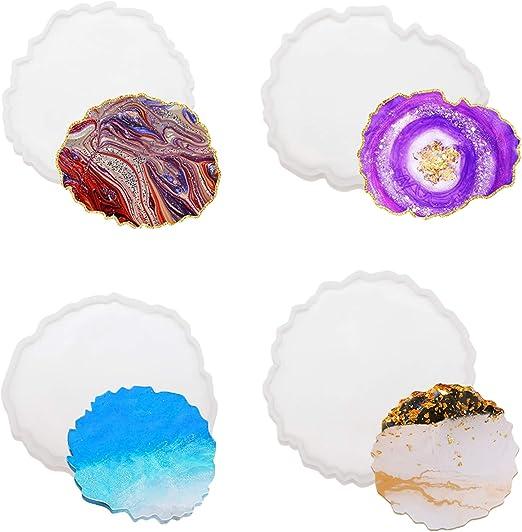 Molde de silicona 4Pcs Moldes Resina Epoxi,Moldes de Silicona para Manualidades,Epoxi de Cristal Transparente Resina para Manualidades//Cenicero//Portavasos//Porta Vela