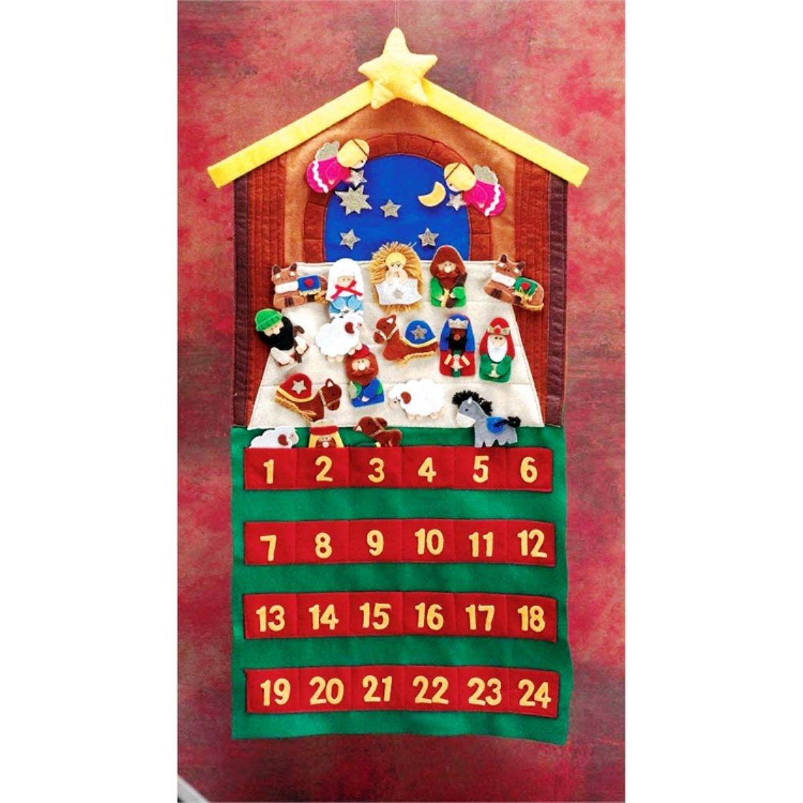 Nativity Theme Crimson, Gold Tone and Fern 12 x 29 Felt 24-Piece Children's Advent Calendar Gold Tone and Fern 12 x 29 Felt 24-Piece Children's Advent Calendar Dicksons