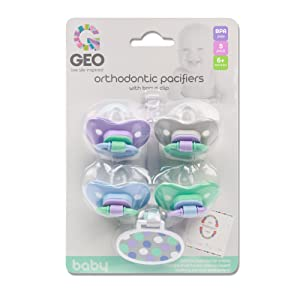 Orthodontic Pacifiers | Includes Bonus Clip | Silicone Nub and Heart Shaped Shield | For Babies 6 Months + | BPA Free | Pack of 4
