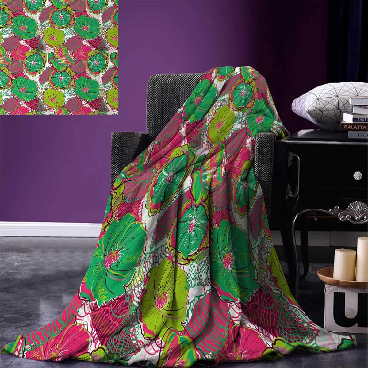 Floral Digital Printing Blanket Tropical Blossom Caribbean in Exotic Tones Hyacinth Hippie Print Summer Quilt Comforter 80''x60'' Jade and Lime Green Hot Pink