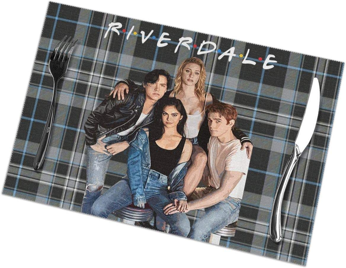ZOE DAVISON 23 Riverdale-Friends Placemats for Dining Table Set of 6 Kitchen Stain Resistant Washable Table Heat-Resistant Non Slip Table Mats Decoration