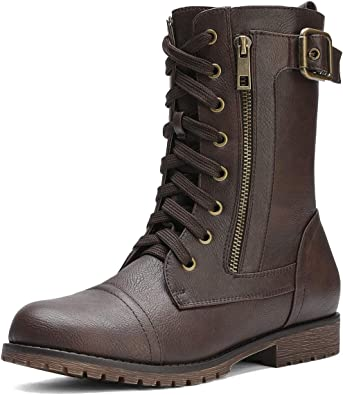 Womens Winter Round Toe Lace up Ankle Low Heel Combat Boots Fashion Leather Waterproof Flats Booties by Nevera