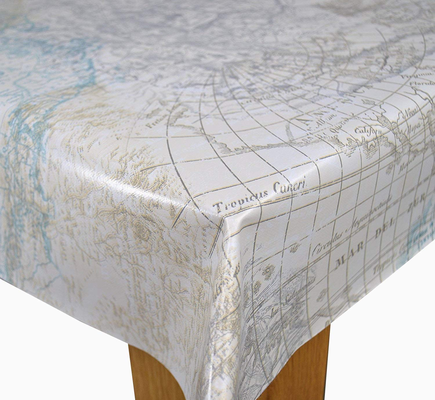 Karina Home Maps of the World Duckegg PVC 200 x 140cm Wipe Clean Tablecloth