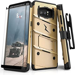 Zizo Bolt Series Compatible with Samsung Galaxy Note 8 Case Military Grade Drop Tested with Tempered Glass Screen Protector Holster Blue Black