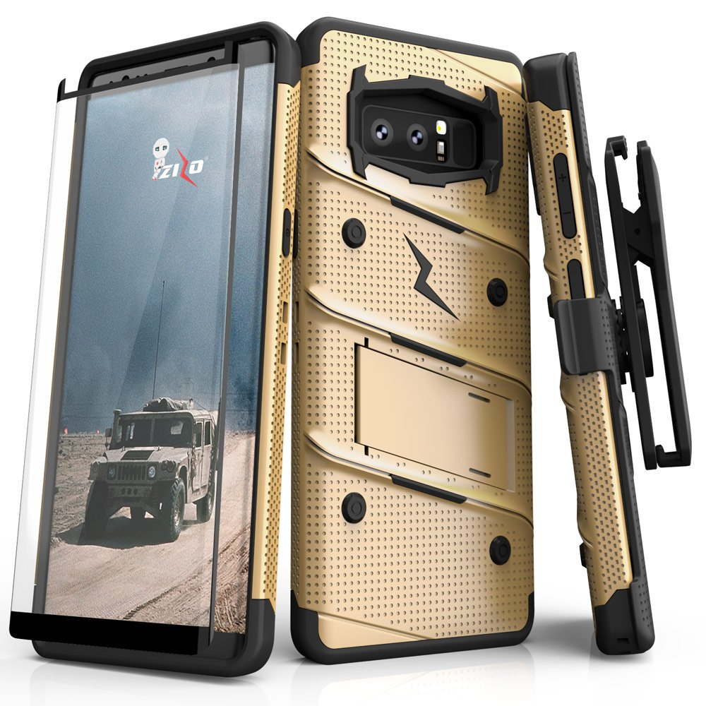 Zizo Bolt Series Compatible with Samsung Galaxy Note 8 Case Military Grade Drop Tested with Tempered Glass Screen Protector Holster TAN CAMO Green