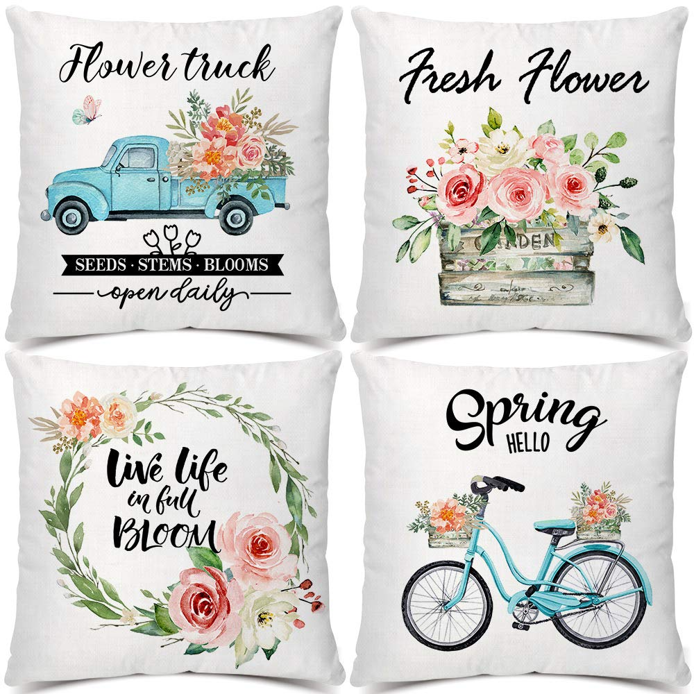Artivestion Spring Pillow Covers 18×18 Decorative Throw Pillow Covers Set of 4