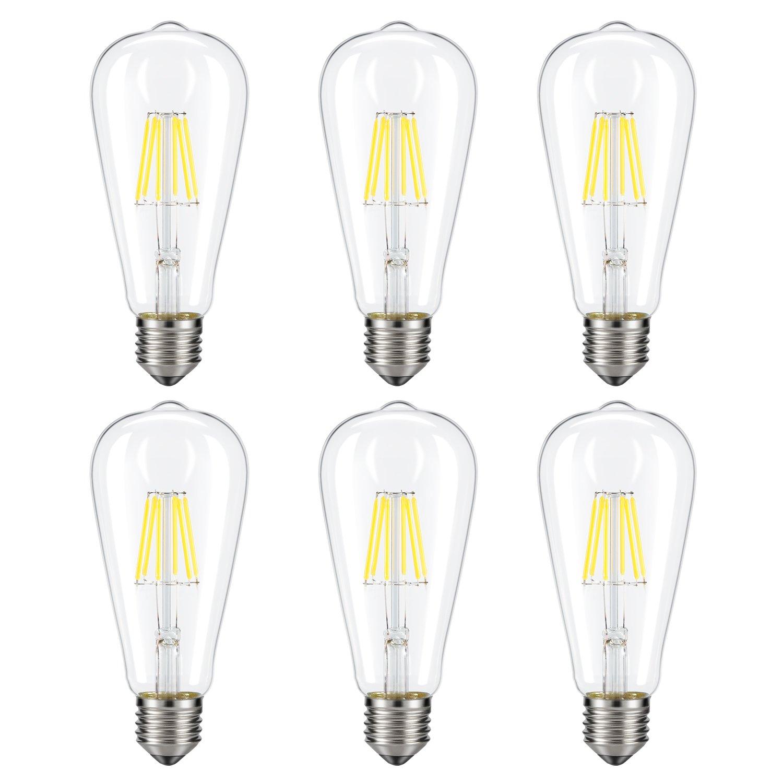 Dimmable Edison LED Bulb, Daylight White 4000K, Kohree 6W Vintage LED Filament Light Bulb, 60W Equivalent, E26 Base Lamp for Restaurant,Home,Reading Room, 6 Pack(Daylight White, NOT Soft/Warm White)