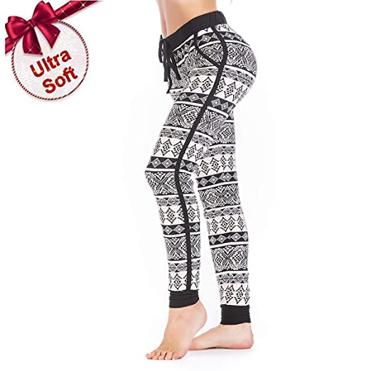 405a7382e6f44f SUGER HIGH Printed High Waisted Leggings Soft Stretch Yoga Leggings Black  and White XL