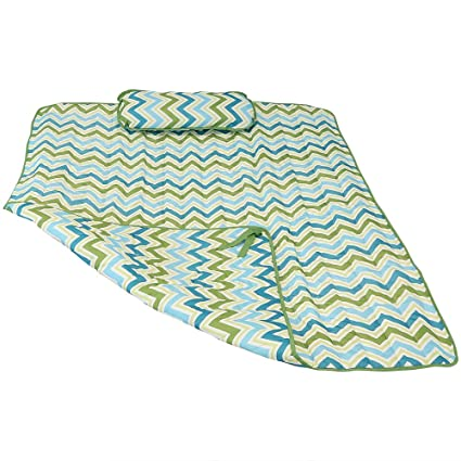 Sunnydaze Weather-Resistant Outdoor Polyester Quilted Hammock Pad and Pillow Only Set, Blue & Green Chevron