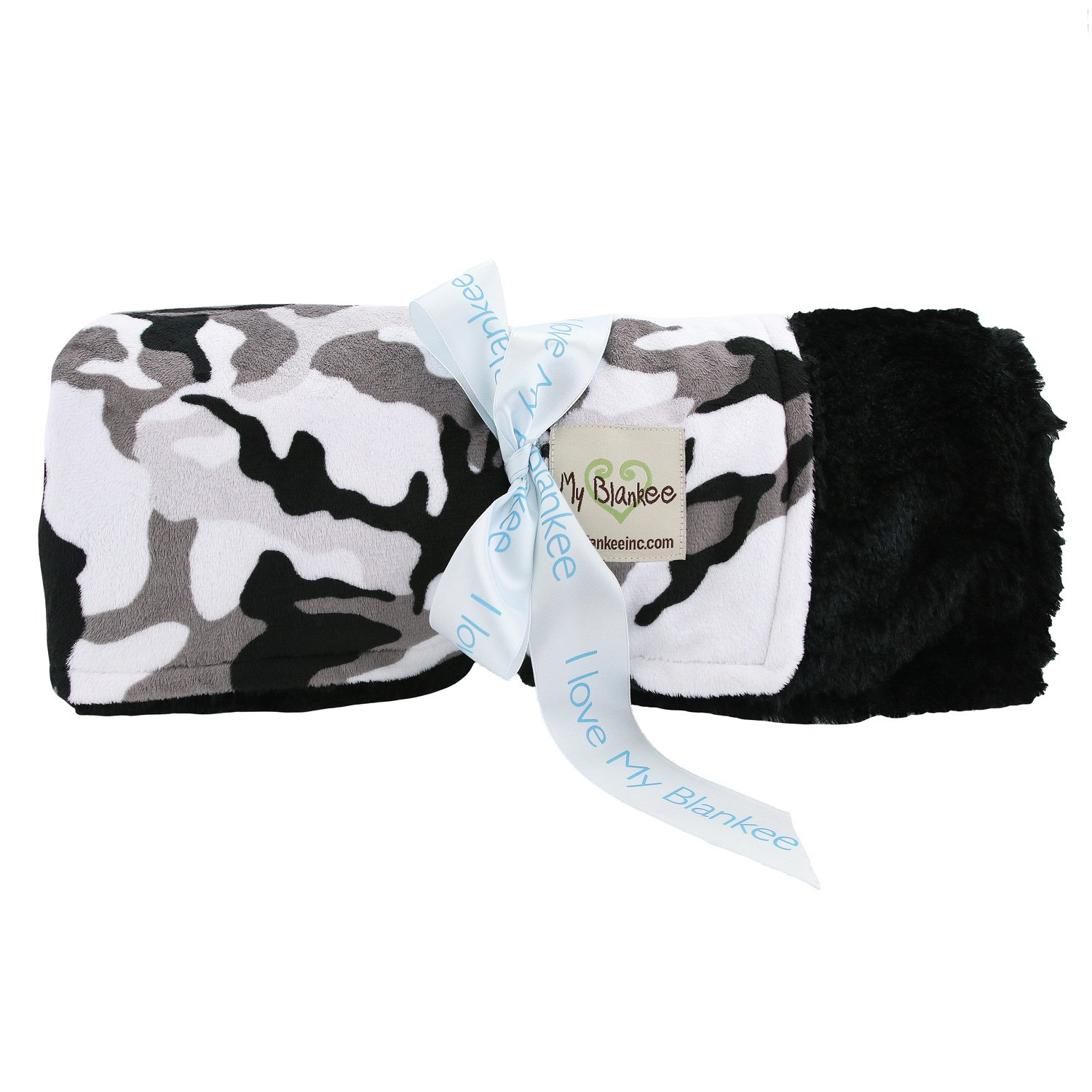 My Blankee Winter Camouflage with Luxe Back Black Throw Blanket, 52'' x 60''