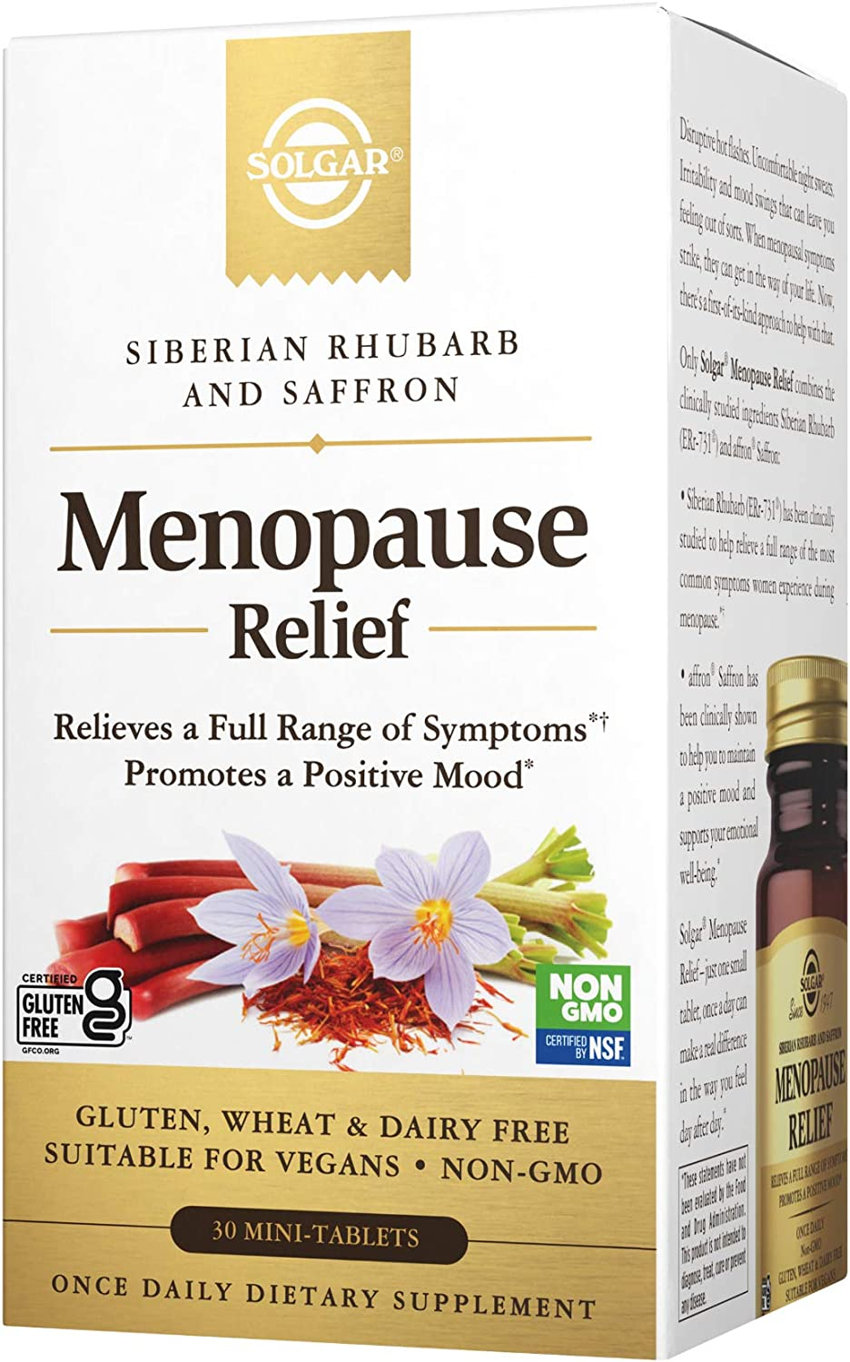 Solgar Menopause Relief - 30 Tablets - Helps Relieve Hot Flashes, Anxiety, Exhaustion, Irritability, Sleep Disturbances & More - Promotes a Positive Mood - Non-GMO, Gluten Free, Vegan
