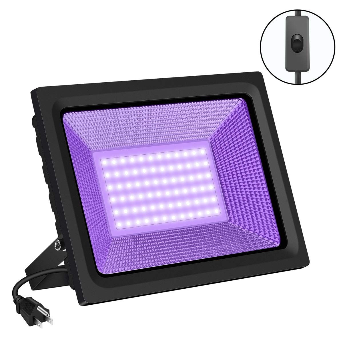 SAYHON UV Black Light with Switch 80W LED Ultra Violet LED Blacklight Waterproof Stage Light Flood Light for Parties Club, Glow in the Dark, Body Paint Neon Party Supply Decorations, Aquarium, Curing