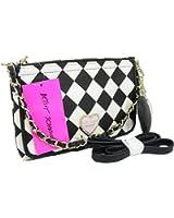 New Betsey Johnson Purse Cross Body Hand Bag Black Bone Checkered Hearts E/W