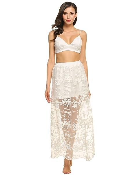Teamyy Conjunto de Top y Falda larga de color blanco Floral Encaje  Transparente para Mujer  Amazon.es  Ropa y accesorios e16defe1a440